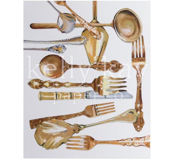 Art Print | Gold Flatware