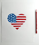 Original Art | American Flag Heart