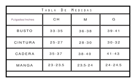 tabla de tallas in oukgadas