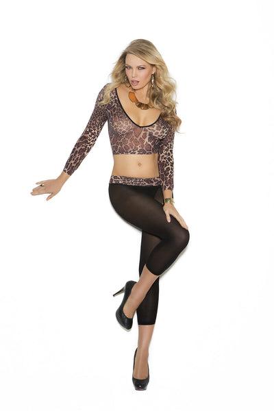 Opaque animal print long sleeve cami top and leggings
