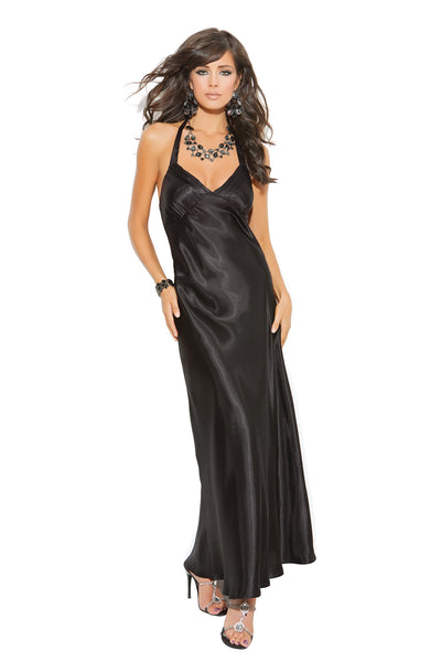 Charmeuse satin halter neck gown