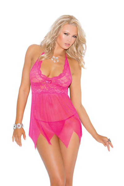 Lace and mesh babydoll features kerchief hemline. Matching g-string included