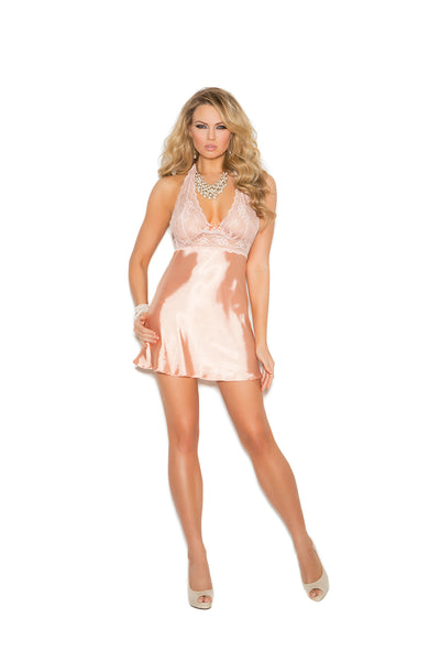 Lace and charmeuse halter neck babydoll and matching g-string