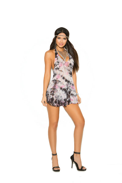 Lace halter mini dress with matching g-string