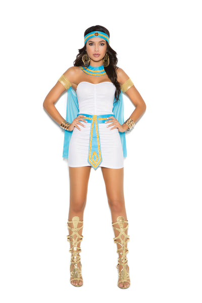 Queen of the Nile - 5 pc. costume includes bandeau mini  dress, neck piece, head piece, belt and arm bands with  attached cape