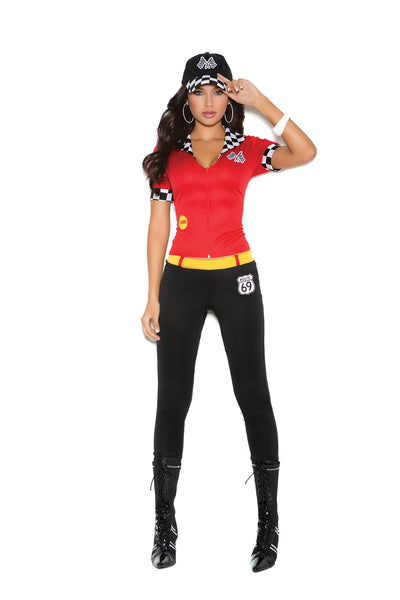 High Octane Honey - 3 pc. costume includes short sleeve  top with zipper, pants and hat
