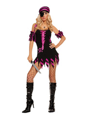 Shipwrecked Wench - Black Light Receptive. 4 pc. costume includes dress, arm bands, head scarf and eye patch