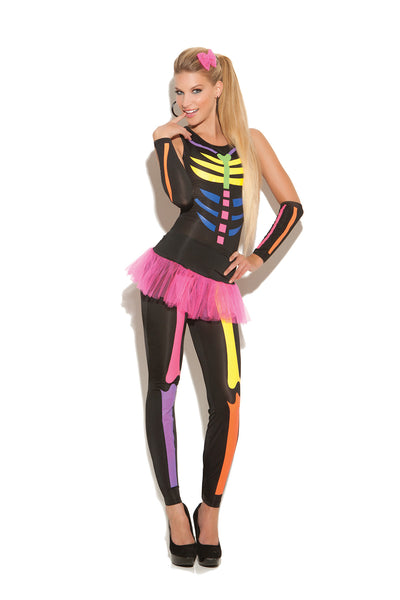 Scary Bones - Black Light Receptive. 4 pc. costume  includes jumpsuit, tutu skirt, gloves and hair bow