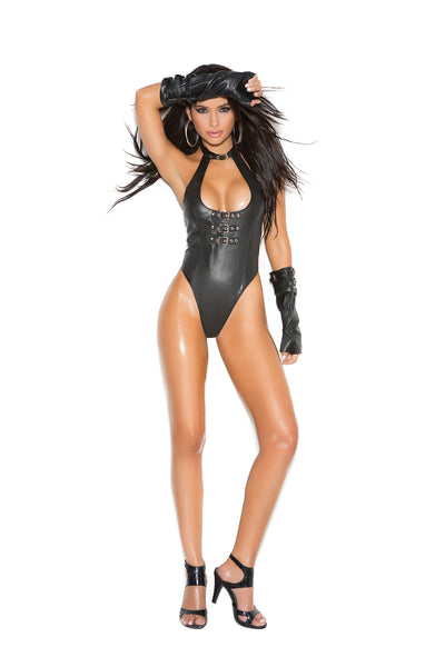 Leather teddy with buckle front detail and thong back