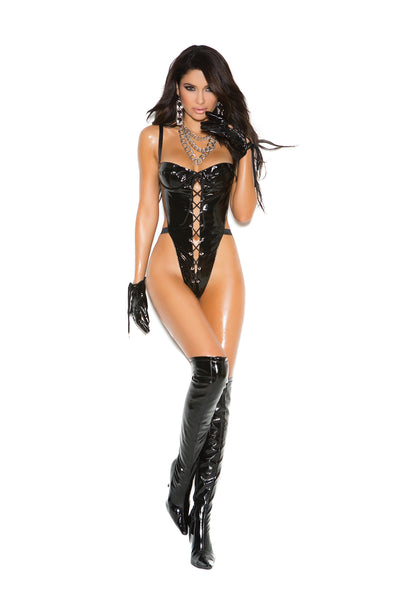 Vinyl teddy with lace up front, underwire cups, adjustable straps and string back