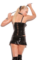 Vinyl zip front corset with buckle detail, boning, and adjustable and detachable straps. Vinyl back with lace up detail. Adjustable and detachable garters