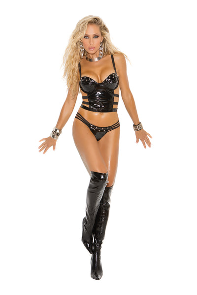 Vinyl bustier with underwire cups, strappy sides and back. Matching g-string included