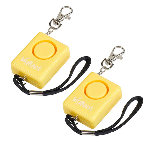 Vigilant Personal Alarm With Bag Clip & Rip Cord 2-Pack Value Bundle (Yellow)