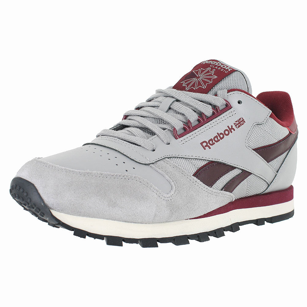 MENS CL LEATHER RE MGH SOLID GREY BURGUNDY