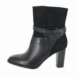 WOMENS KACIA GARNET LEATHER BOOT BLACK COMB