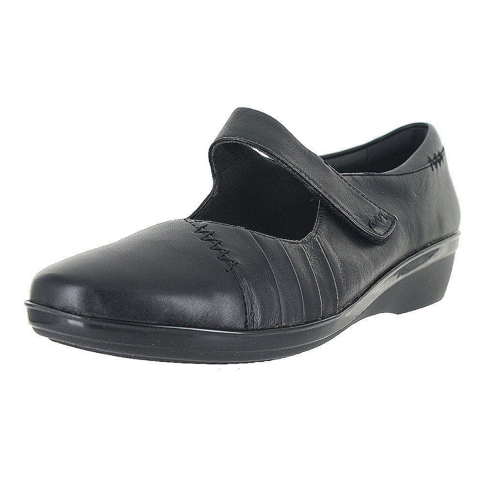 WOMENS EVERLAY DAPHNE BLACK LEATHER