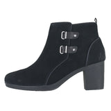 WOMENS MEERA YEW ANKLE BOOTS WIDE BLACK SUEDE