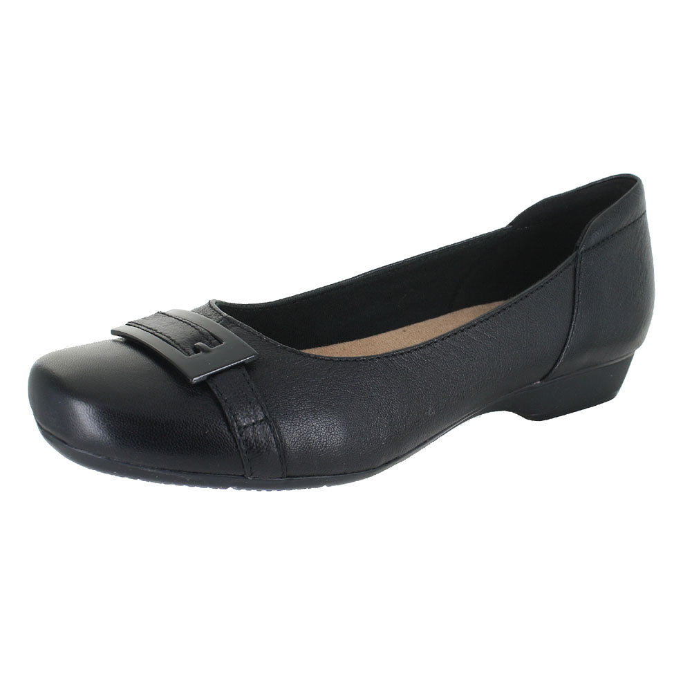 WOMENS BLANCHE WEST WIDE BLACK LEATHER