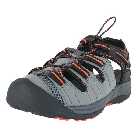 KIDS APPALACHIAN SANDAL 4E WIDE BLACK ORANGE