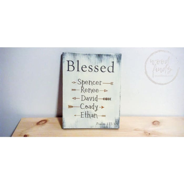 Blessed Pslam 127 Wood Sign With Childrens Names Wood Finds
