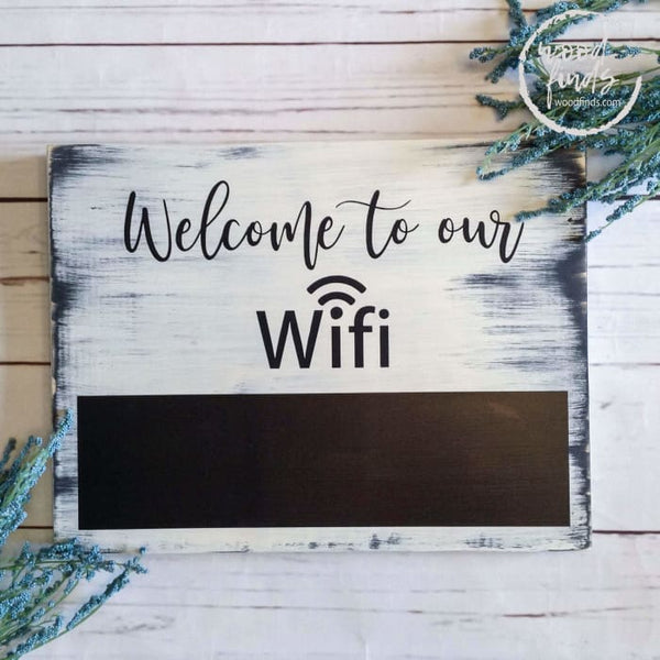 Chalkboard WiFi Wood Password Sign 10x12 Rustic Wood Finds