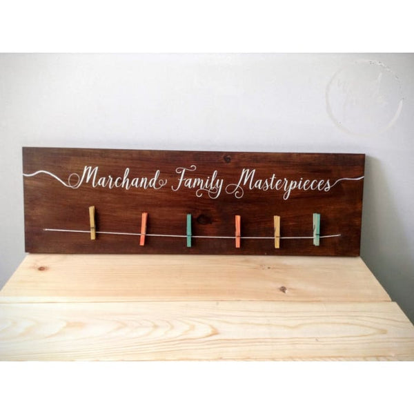 Childrens Art Display Wood Sign with Clothespins Wood Finds
