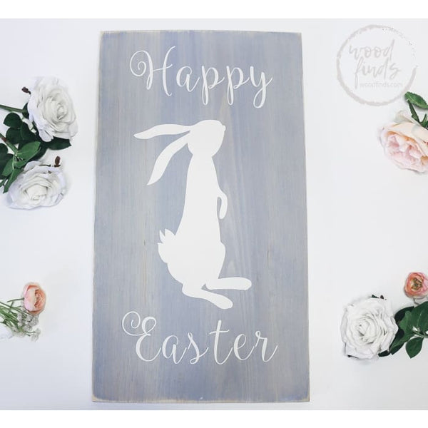 Easter Decor Rustic Blue Rabbit Wood Sign WoodFinds
