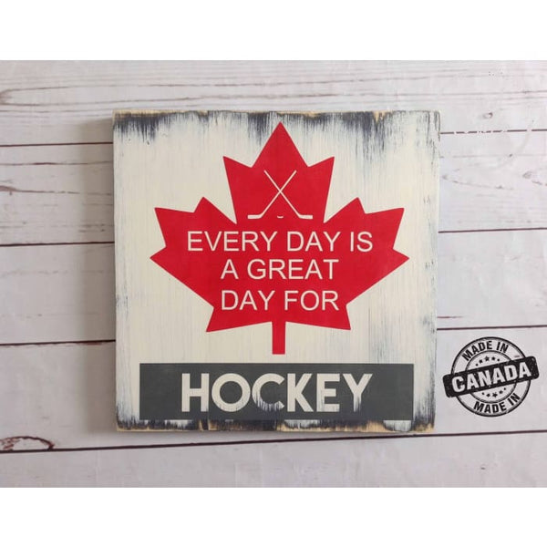 Every day is a great day for hockey Wood Sign Wood Finds