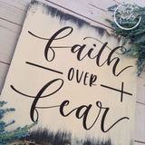 Faith over Fear Rustic Wood Sign Wood Finds
