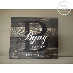 Family Established Monogram Sign | Handmade Custom Wood Sign Wood Finds