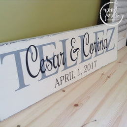 Family Last Name Sign - Wood Wedding Sign Wood Finds