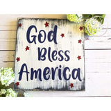 God Bless America Rustic White Wood Sign Wood Finds
