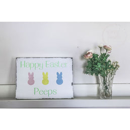 Happy Easter Peeps Wooden Sign - Wood Finds Wood Finds