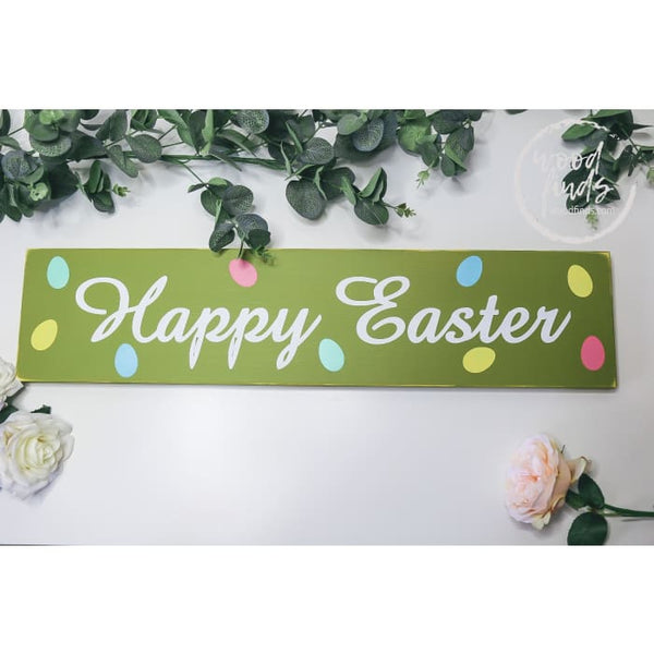 Happy Easter Wood Sign with Mini Eggs WoodFinds