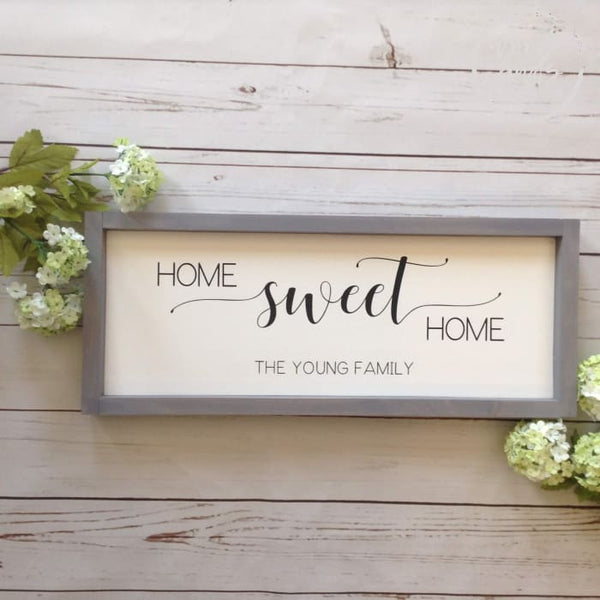 Home Sweet Home Framed Wood Sign Wood Finds