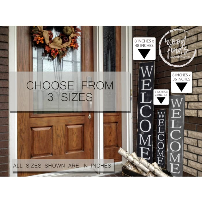 Wood Finds Large Vertical Welcome Wood Sign For Front Door