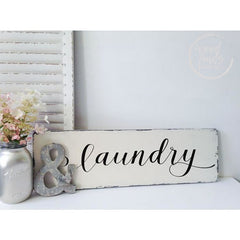 Laundry Room Sign Handcrafted Farmhouse Wood Sign 8x24 Wood Finds