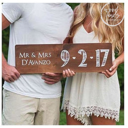 Mr & Mrs Wedding Date Custom Sign | Handmade Wood Sign Wood Finds