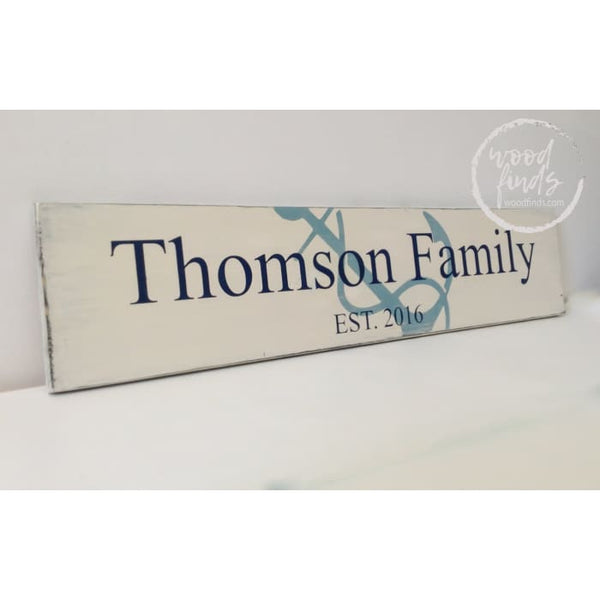 Nautical Family Name Est Date Sign With Anchor WoodFinds