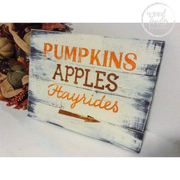 Pumpkins Apple Hayrides Fall Signage | Handcrafted Custom Wood Sign Wood Finds