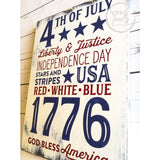 Rustic 4th of July Wall Sign Red White & Blue Wood Finds