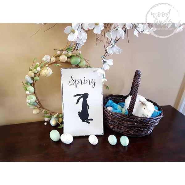 Spring Bunny Wood Sign | Handmade Wood Sign Wood Finds