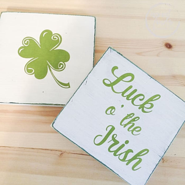 St Patricks Day Square Wall Decor - Shamrock Designs WoodFinds