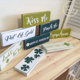 St Patricks Day Wood Signs Shelf Size - Wreath Signs WoodFinds