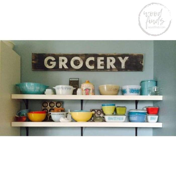 Vintage-Style Grocery Sign | Handcrafted Custom Wood Sign Wood Finds