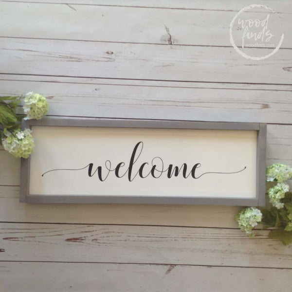Framed Welcome Wood Sign, Wood Hanging Welcome Sign, White Farmhouse Sign, Entryway Wall Decor, Front Porch Sign, Horizontal Welcome Sign