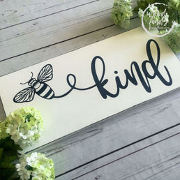 White Country Chic Bee Kind Wood Sign, Mindfulness Gift, Quotes About Life, Inspirational Art Quotes, Gift for Bee Lovers, Teacher Gift