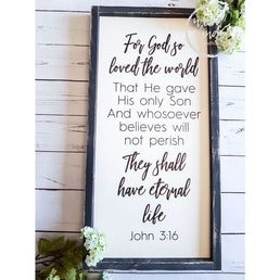 White For God So Loved the World John 3:16 Scripture Framed Sign Wood Finds
