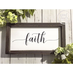 White Framed Faith Wood Sign - Wood Finds Wood Finds