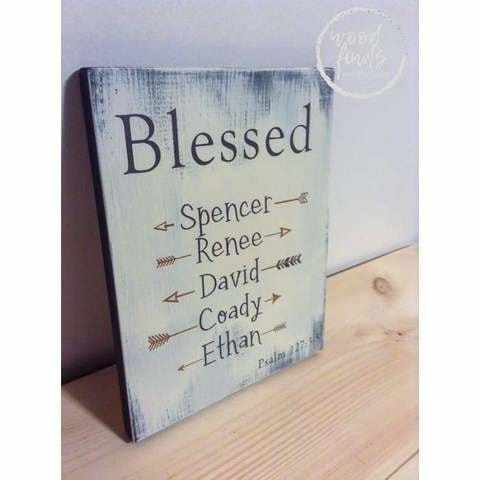 blessed family wood sign
